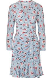 Veronica Beard - Rowe gathered floral-print silk crepe de chine mini dress at Net A Porter