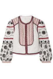 Veronica Beard - Shilin embellished broderie anglaise linen jacket at Net A Porter