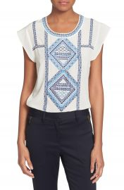 Veronica Beard  Baja  Flutter Cap Sleeve Top at Nordstrom