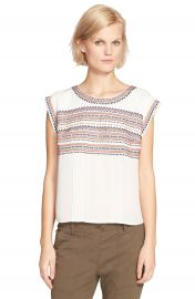 Veronica Beard  Clover  Embroidered Silk Georgette Tee at Nordstrom