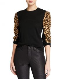 Veronica Beard Adler Mixed-Media Wool Sweater at Neiman Marcus