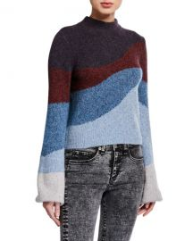 Veronica Beard Alexey Mock-Neck Pullover Sweater at Neiman Marcus