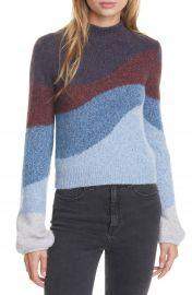 Veronica Beard Alexey Stripe Mock Neck Sweater   Nordstrom at Nordstrom