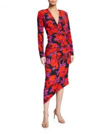 Veronica Beard Alvaro Floral-Print Asymmetric Ruched Dress at Neiman Marcus