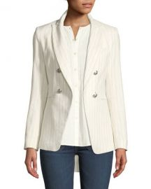 Veronica Beard Apollo Linen Cotton Double-Breasted Jacket   Neiman at Neiman Marcus