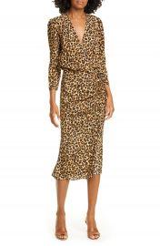 Veronica Beard Arielle Leopard Print Stretch Silk Midi Dress   Nordstrom at Nordstrom