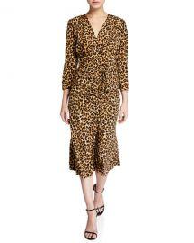 Veronica Beard Arielle Leopard-Print V-Neck Dress at Neiman Marcus