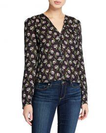 Veronica Beard Ashville Floral V-Neck Long-Sleeve Silk Blouse at Neiman Marcus