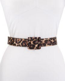Veronica Beard Aulma Leopard-Print Leather Belt at Neiman Marcus