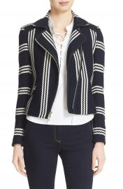 Veronica Beard Bailey Stripe Knit Moto Jacket at Nordstrom