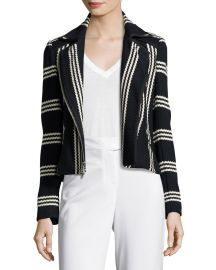 Veronica Beard Bailey Striped Cotton Moto Jacket  Navy White at Neiman Marcus