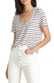 Veronica Beard Benji Stripe Linen T-Shirt   Nordstrom at Nordstrom