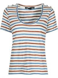 Veronica Beard Benji Striped Linen T-shirt - Farfetch at Farfetch