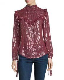 Veronica Beard Brooks Mock-Neck Long-Sleeve Silk Blouse w at Neiman Marcus