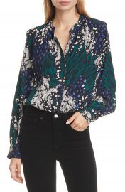 Veronica Beard Buckley Mixed Print Stretch Silk Top   Nordstrom at Nordstrom