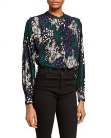 Veronica Beard Buckley Printed Button-Down Top at Neiman Marcus