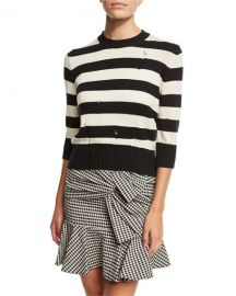 Veronica Beard Cape Dropped-Stitch Striped Sweater  Black White at Neiman Marcus