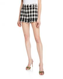 Veronica Beard Carito Gingham Rolled-Cuff Shorts at Neiman Marcus