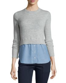 Veronica Beard Cati Wool Shirttail Combo Sweater  Gray Blue at Neiman Marcus