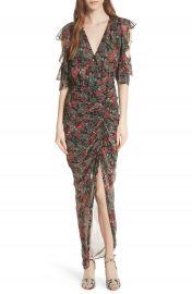 Veronica Beard Cecile Print Cold Shoulder Silk Dress at Nordstrom
