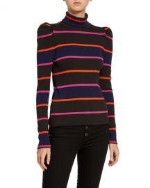 Veronica Beard Cedar Stripe Puff-Sleeve Turtleneck Top at Neiman Marcus