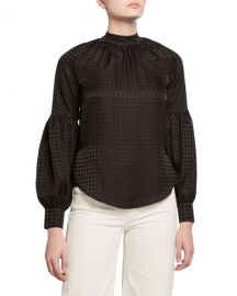 Veronica Beard Cicley Houndstooth Mock-Neck Silk Top at Neiman Marcus