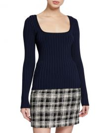 Veronica Beard Clara Square-Neck Ribbed Pullover Sweater at Neiman Marcus