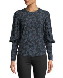 Veronica Beard Clarke Floral Button-Back Silk Top at Neiman Marcus