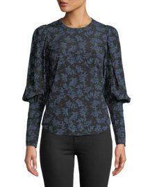 Veronica Beard Clarke Floral Button-Back Silk Top at Neiman Marcus