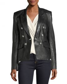 Veronica Beard Cooke Peak-Lapel Leather Jacket at Neiman Marcus