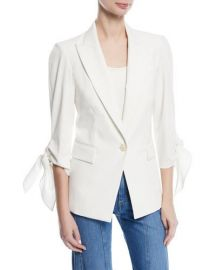 Veronica Beard Corrine Single-Breasted Tie-Cuff Dickey Jacket at Neiman Marcus