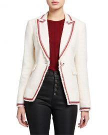 Veronica Beard Cutaway Contrast-Trim Jacket at Neiman Marcus