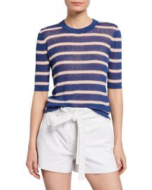 Veronica Beard Dean Striped Elbow-Sleeve Sweater at Neiman Marcus