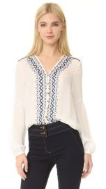 Veronica Beard Dream V Neck Embroidered Blouse at Shopbop