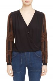 Veronica Beard Embroidered Silk Surplice Blouse at Nordstrom