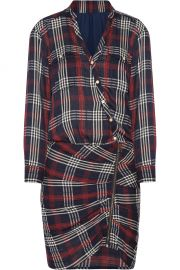 Veronica Beard Emory ruched plaid cotton-blend crepe mini dress at Net A Porter