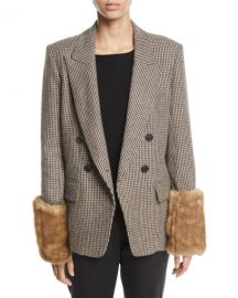 Veronica Beard Fahey Houndstooth Dickey Jacket with Faux-Fur Cuffs at Neiman Marcus