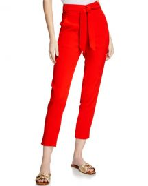 Veronica Beard Faxon Belted Skinny Cropped Pants at Neiman Marcus