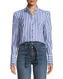 Veronica Beard Holli Striped Strong-Shoulder Button-Front Shirt at Neiman Marcus