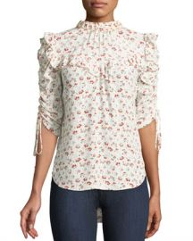 Veronica Beard Howell Floral-Print Silk Ruffle Top at Neiman Marcus