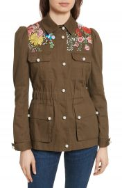 Veronica Beard Huxley Floral Embroidered Safari Jacket at Nordstrom