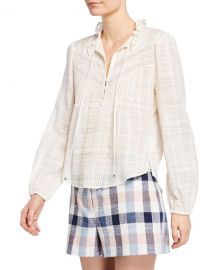 Veronica Beard Jamie High-Neck Cotton Long-Sleeve Blouse at Neiman Marcus