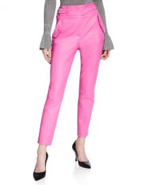 Veronica Beard Jania High-Rise Leather Ankle Pants at Neiman Marcus