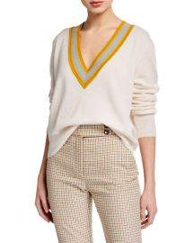 Veronica Beard Jessel V-Neck Wool-Cashmere Sweater at Neiman Marcus