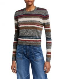 Veronica Beard Jora Cropped Striped Pullover at Neiman Marcus