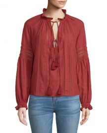 Veronica Beard Kalina Long-Sleeve Peasant Top at Neiman Marcus
