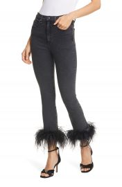 Veronica Beard Kareena Feather Hem Skinny Jeans  Charcoal    Nordstrom at Nordstrom