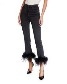 Veronica Beard Kareena High-Rise Skinny Jeans w  Feathers at Neiman Marcus