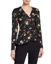 Veronica Beard Kiona Floral Button-Front Blouse at Neiman Marcus