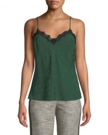 Veronica Beard Knox Silk Cami with Lace Trim at Neiman Marcus